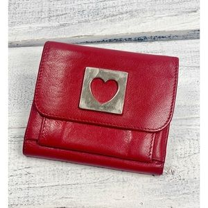 Moschino Couture Vintage Red Leather Heart Wallet